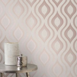 Fine Decor Quartz Pure Metallic Glitter Geometric Wallpaper Rose Gold FD42206